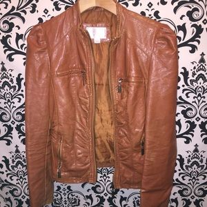 Women's brown faux leather jacket size Medium